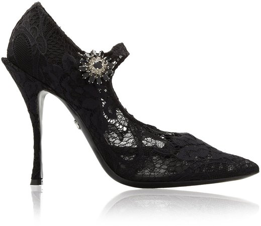 Embellished Lace Mary Jane Pumps