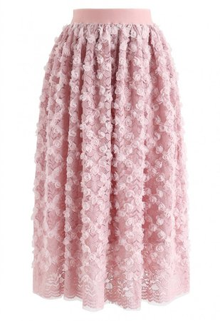 3D Roses Full Lace Midi Skirt in Pink - NEW ARRIVALS - Retro, Indie and Unique Fashion