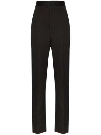 Black Haider Ackermann High-Rise Slim-Leg Trousers   Farfetch.com