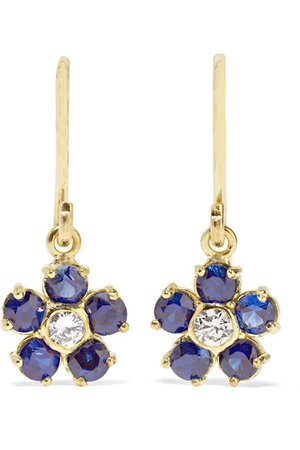 Jennifer Meyer | Large Flower 18-karat gold, diamond and sapphire earrings | NET-A-PORTER.COM