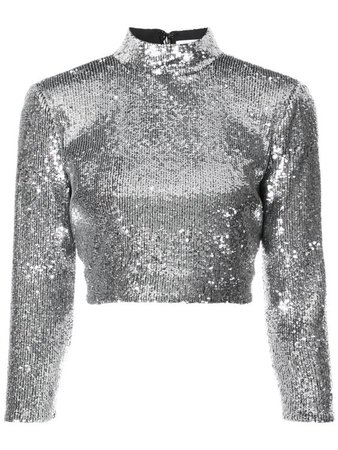 A.L.C Keegan Mock-Neck Long-Sleeve Sequined Crop Top in Silver