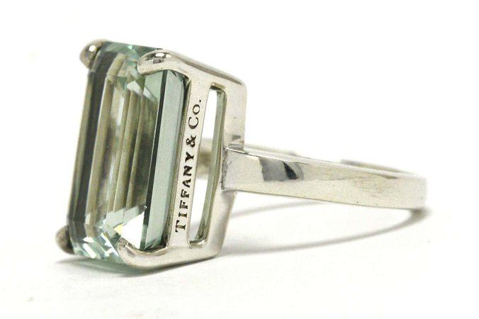 Authentic Tiffany Green Amethyst Cocktail Ring 10 Carat Emerald Cut Prasiolite at 1stDibs