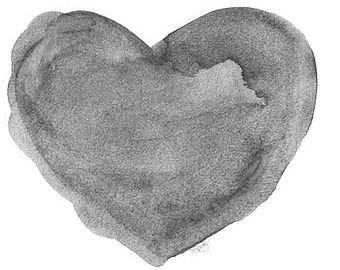 Gray Watercolor Heart