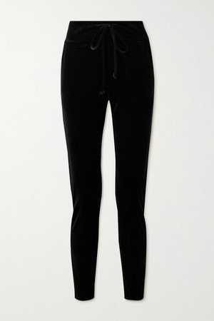 Velvet Track Pants - Black