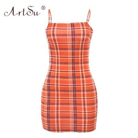 ArtSu Yellow Purple Red Orange Plaid Sexy Bodycon Mini Dress Women Trendy Dress 2019 Summer Club Wear Sleeveless Cami ...