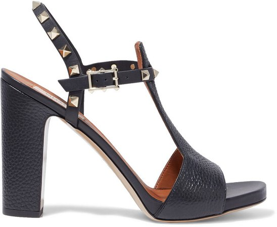 Rockstud Pebbled-leather Sandals