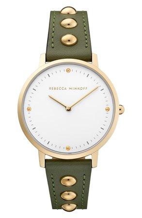 Rebecca Minkoff Major Stud Leather Strap Watch, 35mm   Nordstrom