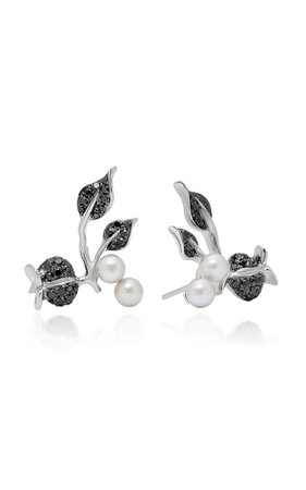 18k White Gold, Pearl And Black Diamond Earrings By Colette Jewelry   Moda Operandi