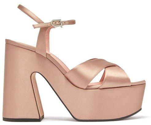 Satin Platform Sandals - Nude