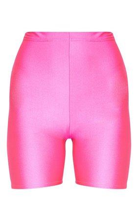 Pink Neon bike Shorts   Shorts   PrettyLittleThing USA