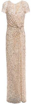 Twist-front Sequined Tulle Gown