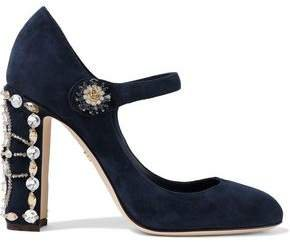 Vally Crystal-embellished Suede Mary Jane Pumps