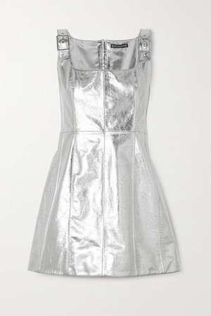 Buckle-detailed Metallic Cracked-leather Mini Dress - Silver