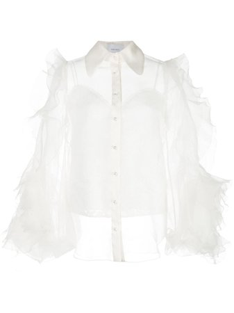 Marchesa, Sheer Ruffle Sleeve Blouse