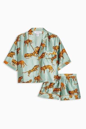 Sage Tiger Print Satin Pajama Set | Topshop