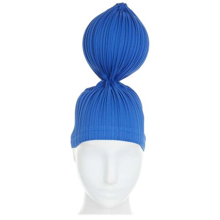 ISSEY MIYAKE PLEATS PLEASE blue pleated single sphere ball bubble statement hat For Sale at 1stdibs