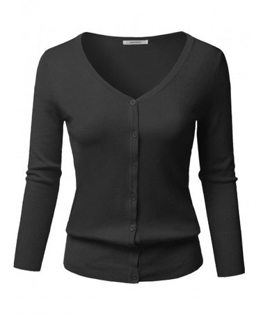 Women's Solid Button Down V-Neck 3/4 Sleeves Knit Cardigan | 32 Black