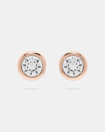 Round stud earrings - Clear | Jewellery | Ted Baker UK