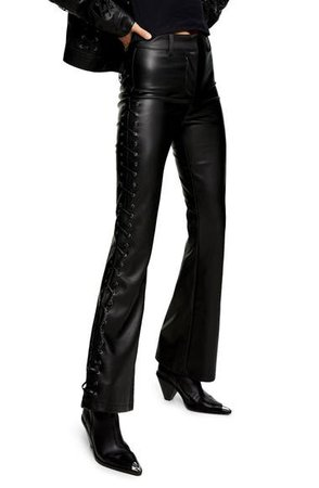 Topshop Lace-Up Faux Leather Flare Trousers   Nordstrom