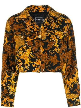 Versace Baroque-Print Denim Jacket |