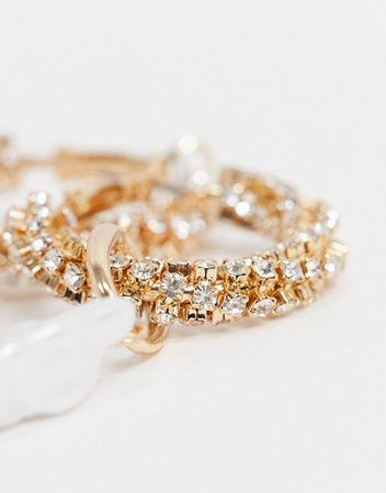 ASOS DESIGN crystal hoop earrings with faux freshwater pearl charms in gold tone | ASOS