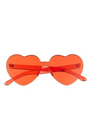 *clipped by @luci-her* Bp. Be Proud By Bp. Gender Inclusive 52mm Rimless Heart Sunglasses - Red