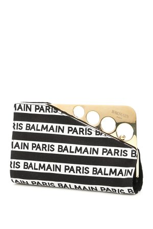 Balmain Cerniere Clutch With Logo