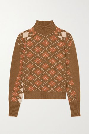 Brown Argyle wool and cashmere-blend turtleneck sweater | Chloé | NET-A-PORTER