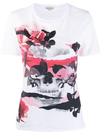 ALEXANDER MCQUEEN Skull Rose Romantic T-shirt | Farfetch.com