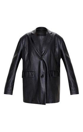 Black Faux Leather Oversized Dad Blazer   PrettyLittleThing