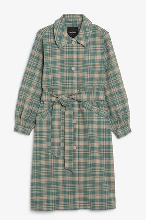 Wool blend coat - Beige and green - Coats - Monki WW