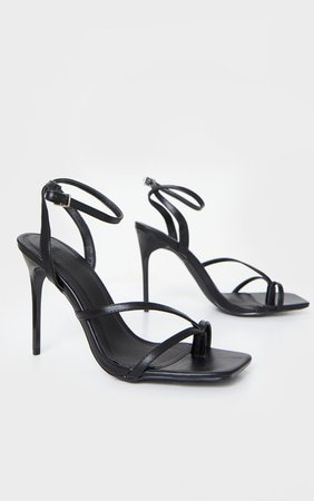 Black Pu Square Toe Strappy High Heeled Sandals   PrettyLittleThing USA