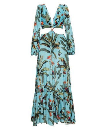 PatBO TROPICAL PRINT CUTOUT MAXI DRESS