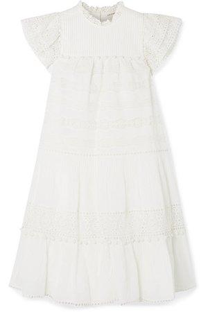 Ulla Johnson | Nora crochet-trimmed cotton-blend voile mini dress | NET-A-PORTER.COM