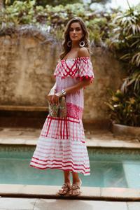 Rubyyaya Tierra Off Shoulder Dress in Melon | Bohemian Mama