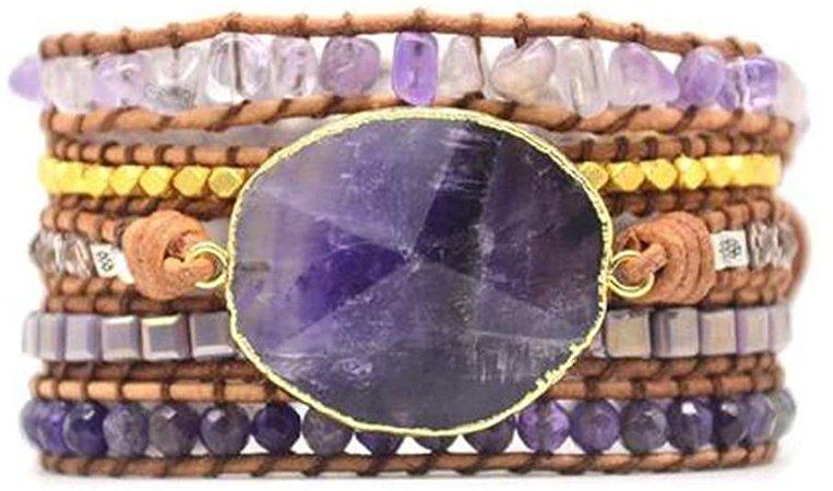 YGLINE Leather Amethyst Druzy Boho 5 Wrap Purple Unique Bead Bracelet Jewelry Women Girl: Jewelry