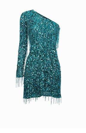 Turquoise Off The Shoulder Sequin Dress