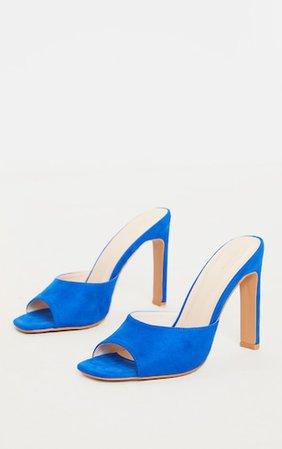 Blue Flat Heel Peep Toe Mule Heel   Shoes   PrettyLittleThing
