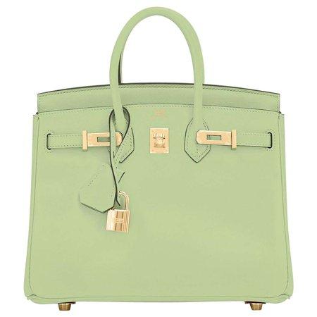 Hermes Birkin 25 Vert Criquet Chic Green Bag Gold Hardware