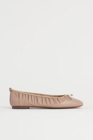 Gathered Ballet Flats - Beige