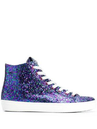 Leather Crown Glitter Hi-Top Sneakers W117 Blue | Farfetch