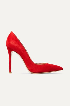 Red 105 suede pumps | Gianvito Rossi | NET-A-PORTER