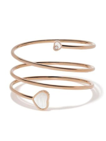 Chopard 18kt Rose Gold Happy Hearts Diamond And mother-of-pearl Twist Bangle - Farfetch