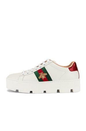 Gucci New Ace Platform Sneakers in White & Green & Red | FWRD