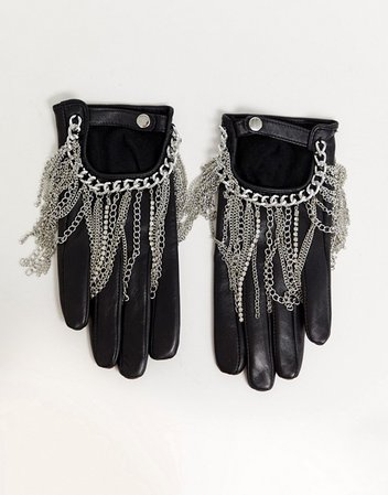 ASOS DESIGN leather touch screen gloves with black