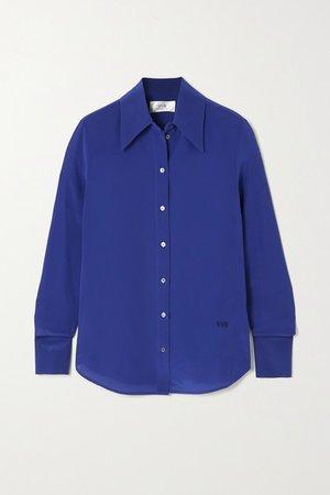 Silk Crepe De Chine Blouse - Blue