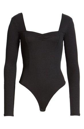 BP. Sweetheart Neck Bodysuit black