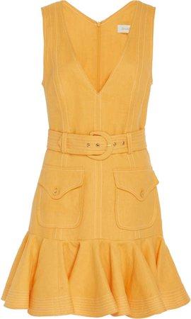Belted Linen Peplum Mini Dress