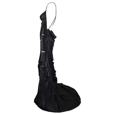 F/W 2002 Gucci by Tom Ford Runway Black Cut-Out Ribbon Gown Maxi Dress For Sale at 1stdibs