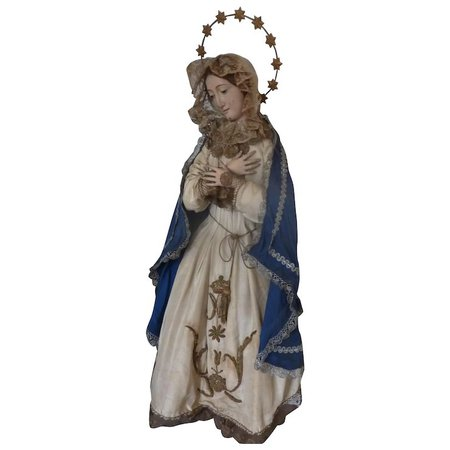 Religious Madonna : Virgin Mary statue doll wood gesso brown eyes : French faded-grandeur | Ruby Lane
